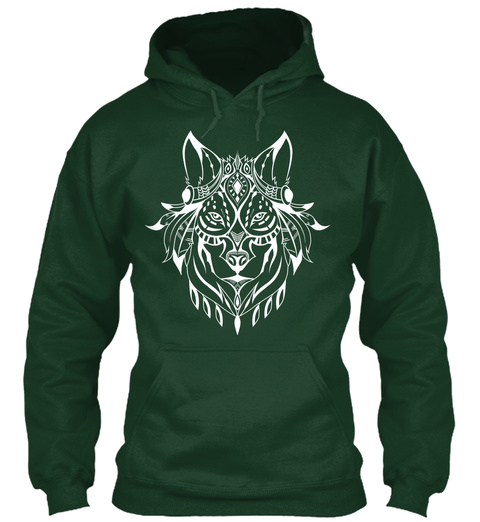 Ethnic White Wolf Hoodie Forest Green T-Shirt Front