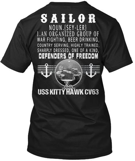 Uss Kitty Hawk Cv63 Black T-Shirt Back