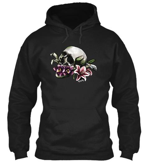 Skull And Flower Shirt Black T-Shirt Front