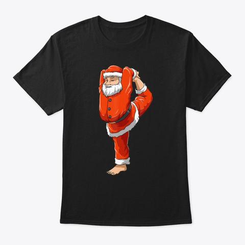 Santa Yoga Christmas Meditation Nataraj  Black T-Shirt Front