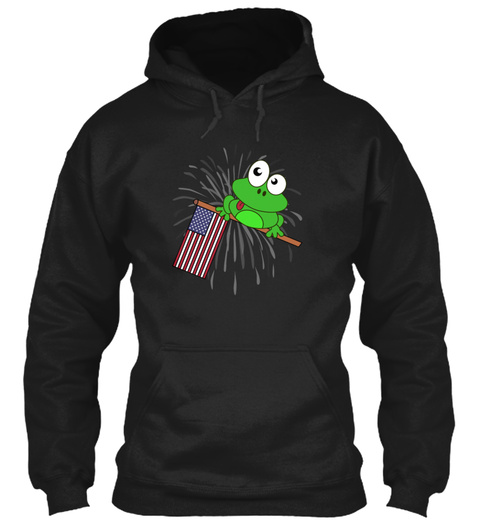 Independence Day Frog July 4th Fireworks Black Sweatshirt Front