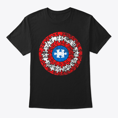 Autism Awareness Puzzle Superhero Shield Black T-Shirt Front