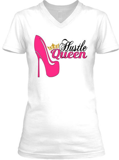 Hustle Queen White T-Shirt Front