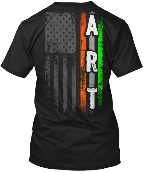 Art Family: Irish American Flag Black T-Shirt Back