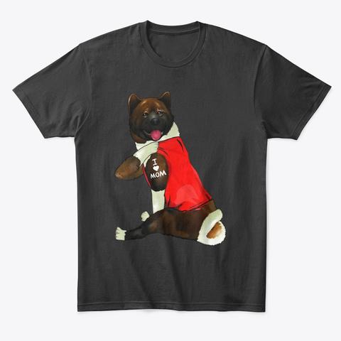 American Akita Dog I Love Mom Tattoo Black T-Shirt Front