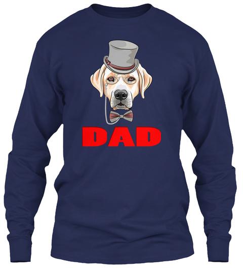 Hipster Dog Labrador Retriever Dad Navy T-Shirt Front