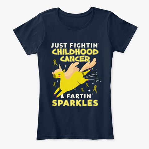 Childhood Cancer  Unicorn Farting New Navy T-Shirt Front