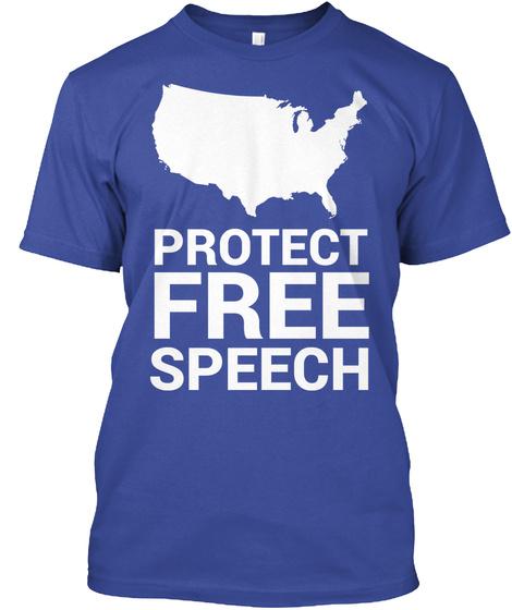 Protect Free Speech Deep Royal T-Shirt Front