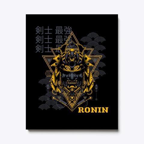 Japanese Ronin, Samurai, Vaporwave Black T-Shirt Front