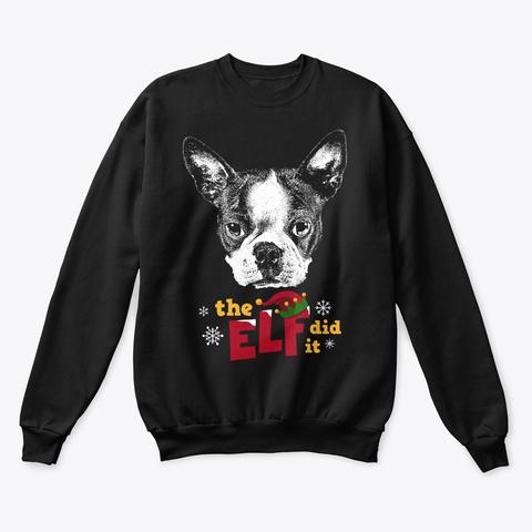 Boston Terrier Christmas Elf Black T-Shirt Front