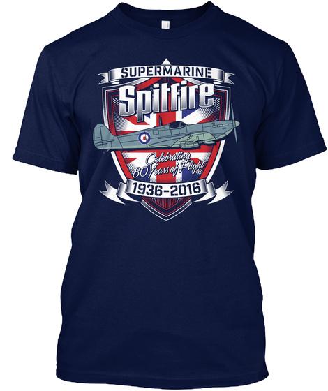 Supermarine Spitfire Celebrating 80 Years Of Flight 1936 2016  Navy T-Shirt Front
