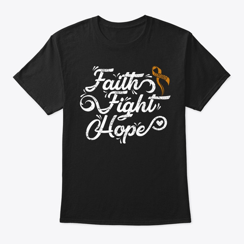 Faith Fight Hope Childhood Cancer Black T-Shirt Front