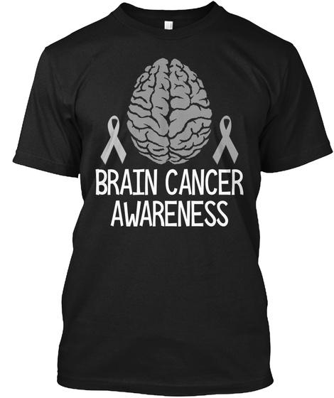 Brain Cancer Awareness Black T-Shirt Front