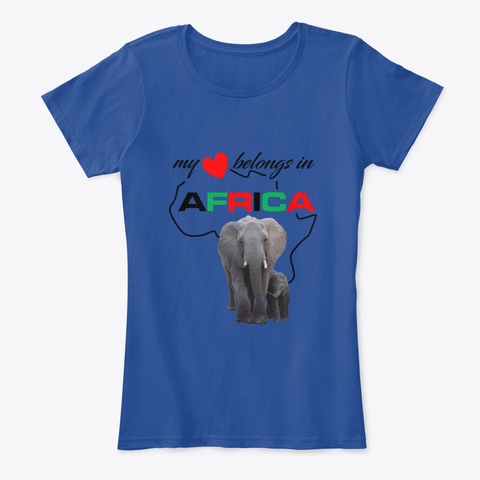 African Elephant Mother & Child Deep Royal  T-Shirt Front