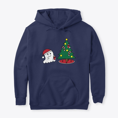 Happy Boo Christmas Navy T-Shirt Front