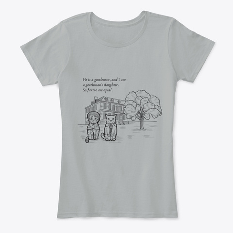 Pride And Prejudice Cat (With Quote) Grey Maglietta Front