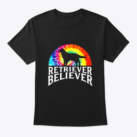 Tie Dye Dog Golden Retriever Believer Black T-Shirt Front
