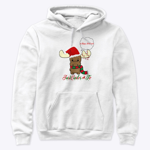Just Carlos Tv Happy Holidays White T-Shirt Front