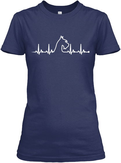 Schnauzer    Heart Beat Navy T-Shirt Front