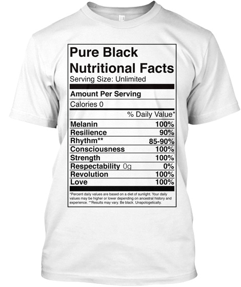 Pure Black Nutritional Facts Serving Size : Unlimited Amount Per Serving Calories 0 % Daily Value* Malanin... White T-Shirt Front