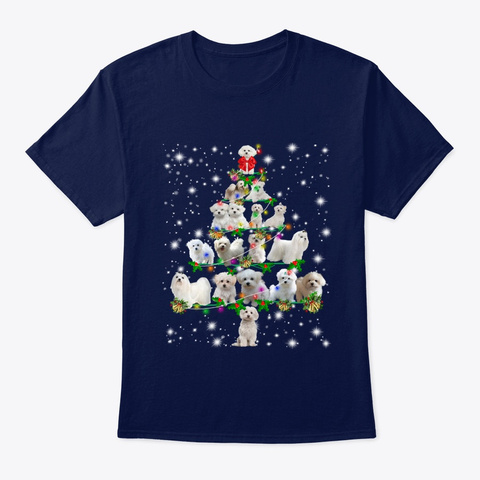 Funny Maltese Dog Christmas Tree Navy T-Shirt Front