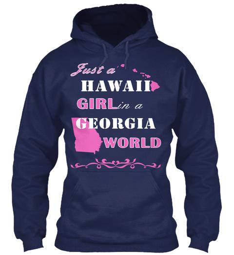 Just A Hawaii Gir Lin A Georgia World Navy T-Shirt Front