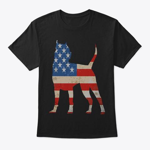 Pitbull Flag Usa Black T-Shirt Front