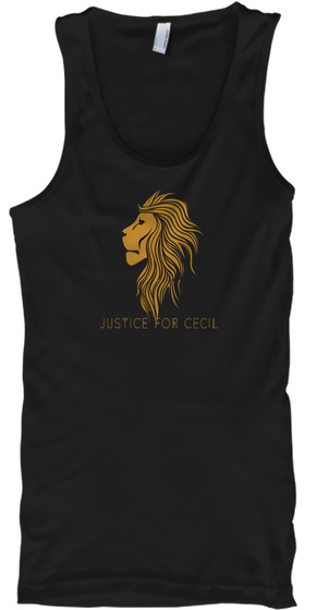 Justice For Cecil  Black T-Shirt Front
