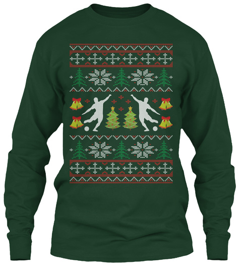 Soccer Ugly Christmas Sweater Forest Green T-Shirt Front