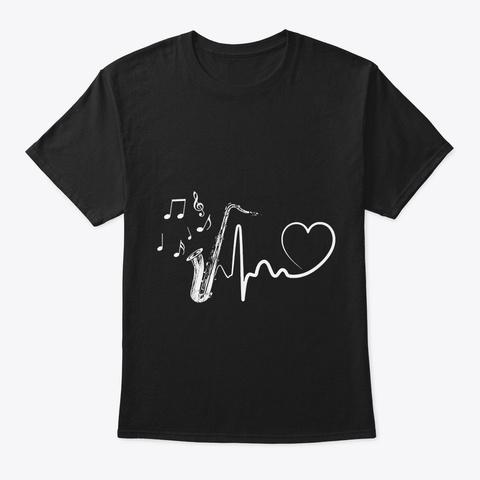 Saxophone Heartbeat Black T-Shirt Front