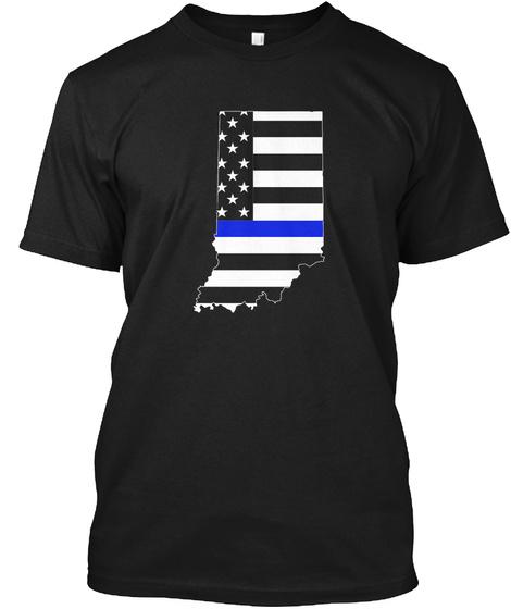 Indiana Thin Blue Line T Shirts  Black T-Shirt Front