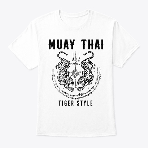 Tigar Style Muay Thai Vintage Kickboxing White T-Shirt Front