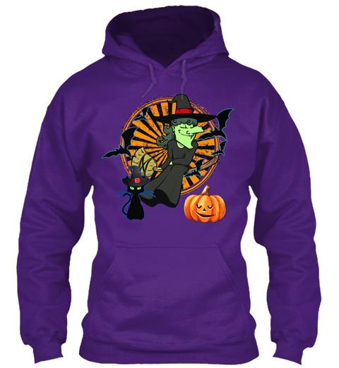 Witch Black Cat Halloween Purple Sweatshirt Front