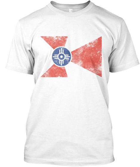 Vintage Flag Of Wichita Kansas White T-Shirt Front