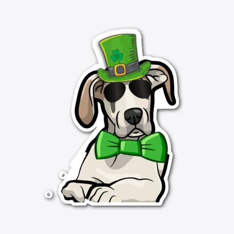 St Patrick's Day Great Dane Sticker Standard T-Shirt Front