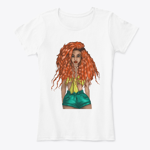 Orange Curly Hairstyle Cute Girl Apparel White T-Shirt Front