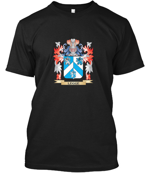 Legge  Coat Of Arms   Family Crest Black T-Shirt Front