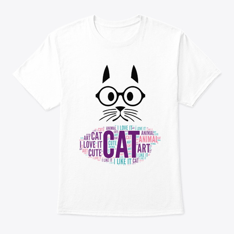 Cute Cat Drawing I White T-Shirt Front
