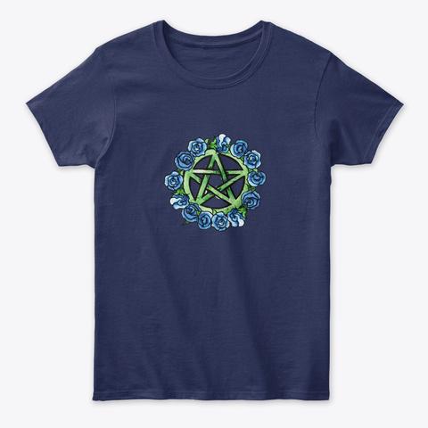 Pagan Pentagram Art Navy T-Shirt Front