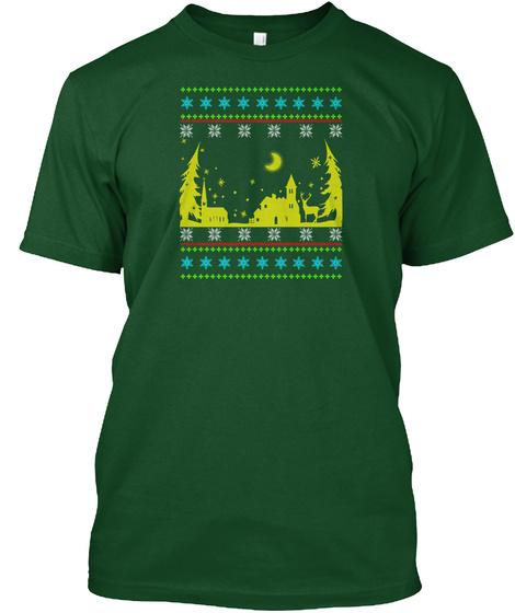 Town Christmas T Shirt Deep Forest T-Shirt Front