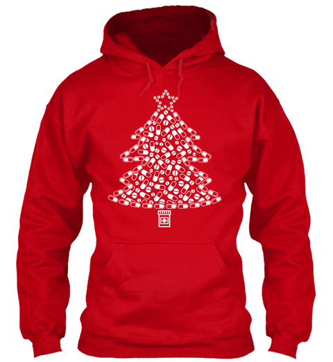 Pharmacy Tech Christmas Hoodie / Shirt Red T-Shirt Front