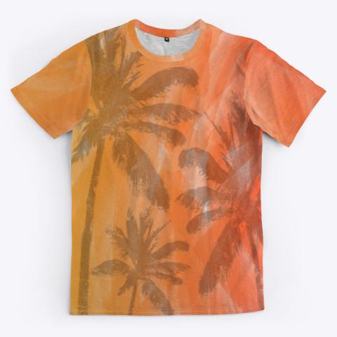 Palm Trees On Watercolor Print Medium Grey T-Shirt Front