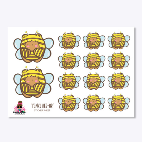 Pinky Bee Sticker White T-Shirt Front