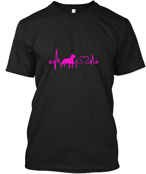 American Staffordshire Terrier Heartbeat Black T-Shirt Front