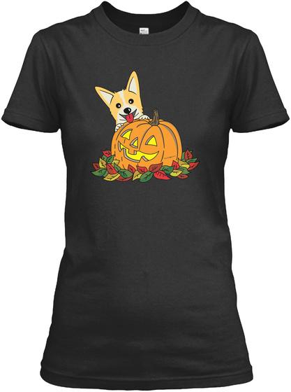 Corgi Pumpkin (Womens) Black T-Shirt Front