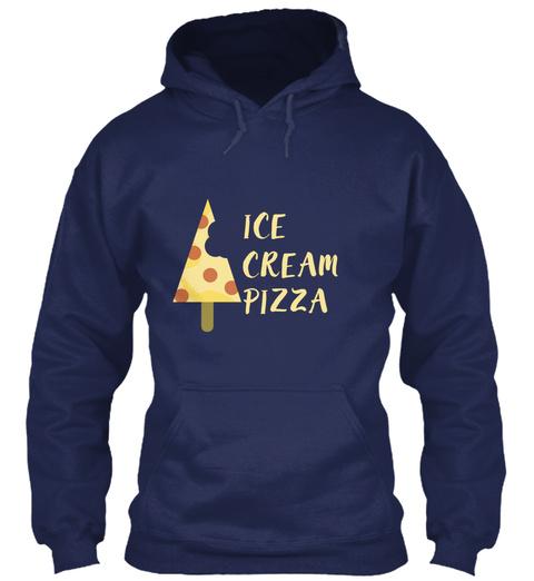 Popsicle De Tranche De Pizza De Crã¨Me G Navy T-Shirt Front