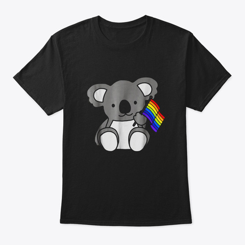 Rainbow Flag Koala Cute Gay Pride Lgbt Black T-Shirt Front