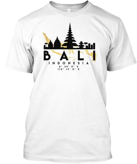 Bali Indonesia Skyline Map Art T Shirt White T-Shirt Front