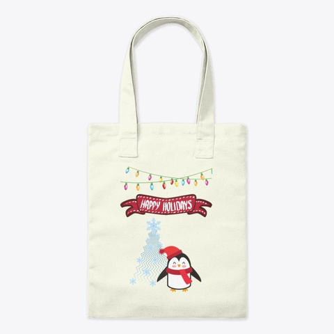Cute Penguin Says Happy Holidays Natural T-Shirt Front