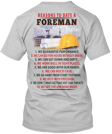 Reasons To Date A Foreman Light Steel T-Shirt Back